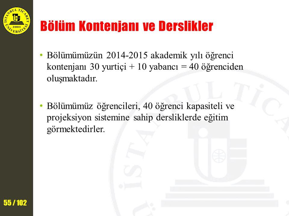 55 / 102 Bölüm Kontenjanı ve Derslikler Bölümümüzün 2014-2015 akademik yılı öğrenci kontenjanı 30 yurtiçi + 10 yabancı = 40 öğrenciden oluşmaktadır.