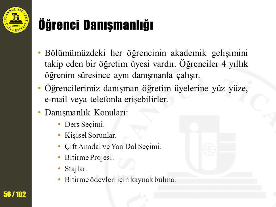 56 / 102 Öğrenci Danışmanlığı Bölümümüzdeki her öğrencinin akademik gelişimini takip eden bir öğretim üyesi vardır.