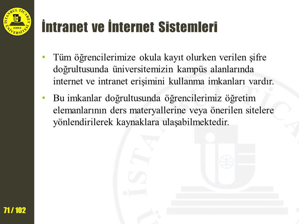 71 / 102 İntranet ve İnternet Sistemleri Tüm öğrencilerimize okula kayıt olurken verilen şifre doğrultusunda üniversitemizin kampüs alanlarında internet ve intranet erişimini kullanma imkanları vardır.