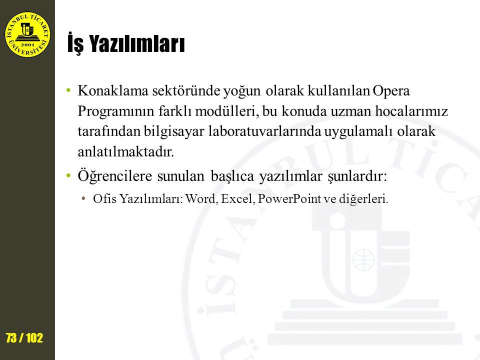 73 / 102 İş Yazılımları Konaklama sektöründe yoğun olarak kullanılan Opera Programının farklı modülleri, bu konuda uzman hocalarımız tarafından bilgisayar laboratuvarlarında uygulamalı olarak anlatılmaktadır.