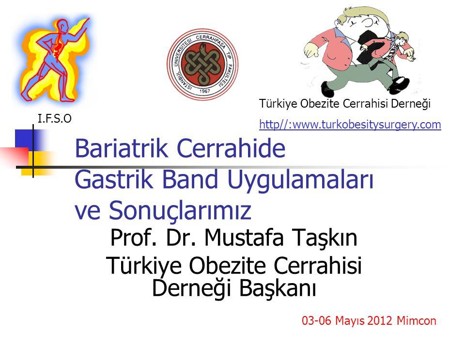 Bariatrik Cerrahide Gastrik Band Uygulamaları ve Sonuçlarımız Prof. Dr. Mustafa Taşkın Türkiye Obezite Cerrahisi Derneği Başkanı Türkiye Obezite Cerra