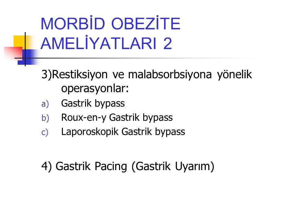 MORBİD OBEZİTE AMELİYATLARI 2 3)Restiksiyon ve malabsorbsiyona yönelik operasyonlar: a) Gastrik bypass b) Roux-en-y Gastrik bypass c) Laporoskopik Gas
