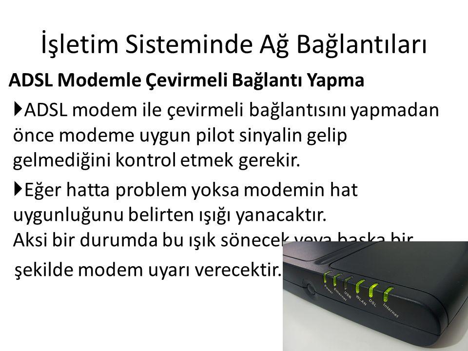İşletim Sisteminde Ağ Bağlantıları ADSL Modemle Çevirmeli Bağlantı Yapma  ADSL modem ile çevirmeli bağlantısını yapmadan önce modeme uygun pilot sinyalin gelip gelmediğini kontrol etmek gerekir.