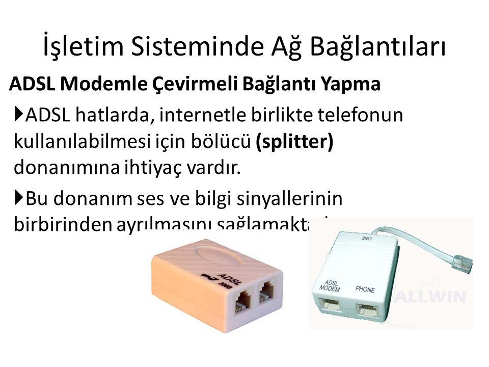İşletim Sisteminde Ağ Bağlantıları ADSL Modemle Çevirmeli Bağlantı Yapma  ADSL hatlarda, internetle birlikte telefonun kullanılabilmesi için bölücü (splitter) donanımına ihtiyaç vardır.