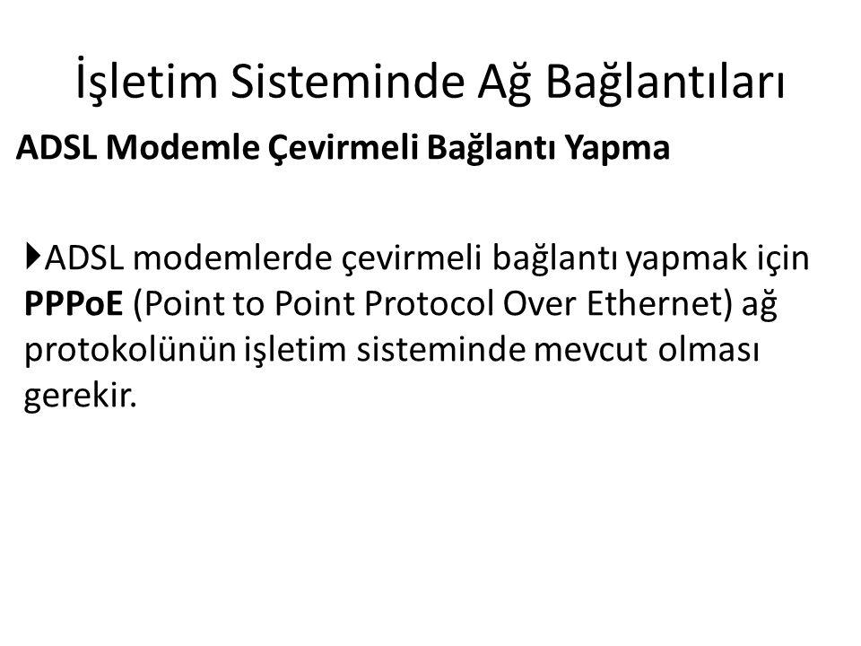 İşletim Sisteminde Ağ Bağlantıları ADSL Modemle Çevirmeli Bağlantı Yapma  ADSL modemlerde çevirmeli bağlantı yapmak için PPPoE (Point to Point Protocol Over Ethernet) ağ protokolünün işletim sisteminde mevcut olması gerekir.