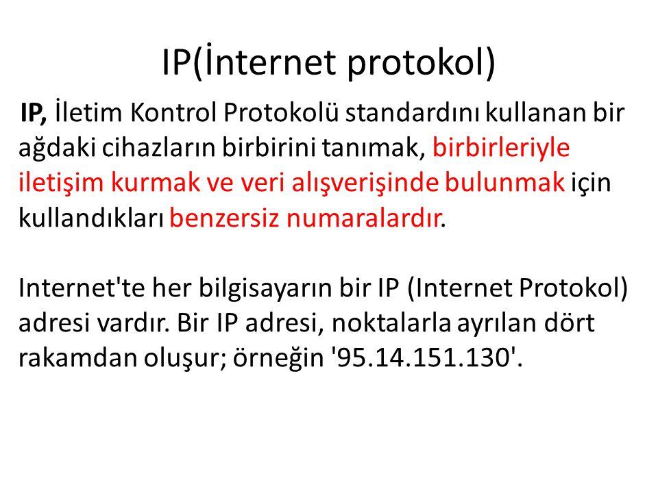 IP(İnternet protokol) IP, İletim Kontrol Protokolü standardını kullanan bir ağdaki cihazların birbirini tanımak, birbirleriyle iletişim kurmak ve veri alışverişinde bulunmak için kullandıkları benzersiz numaralardır.