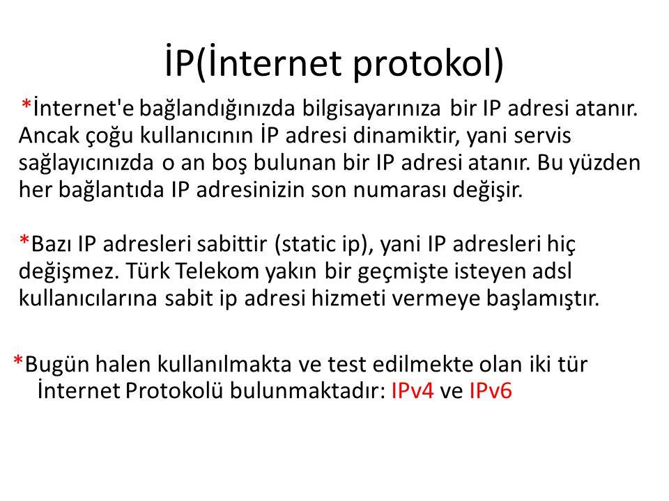 İP(İnternet protokol) *İnternet e bağlandığınızda bilgisayarınıza bir IP adresi atanır.