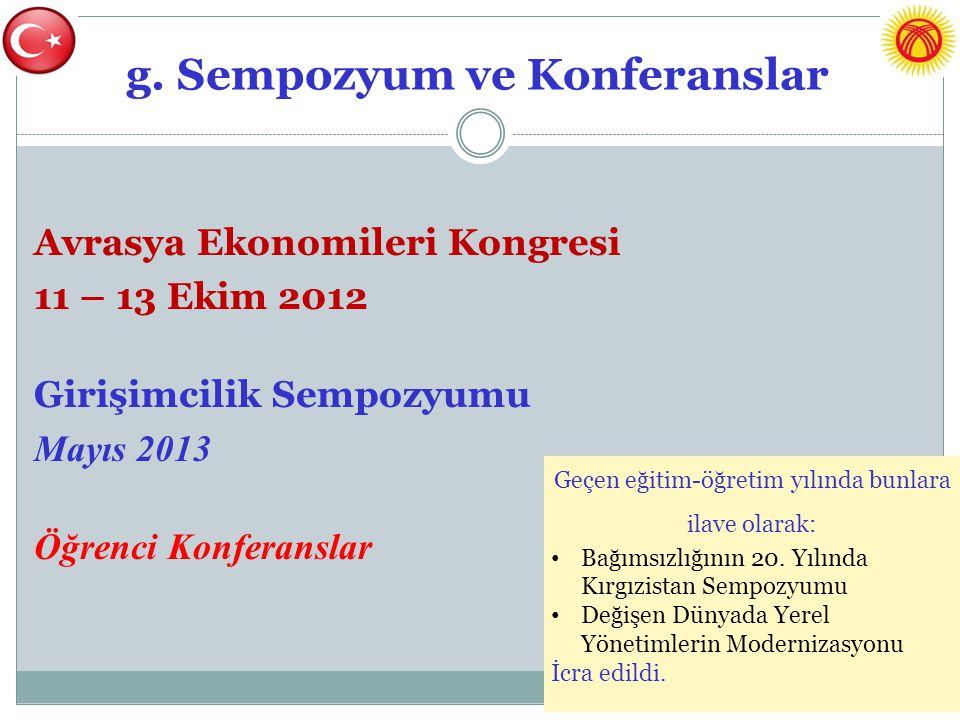 g. Sempozyum ve Konferanslar Avrasya Ekonomileri Kongresi 11 – 13 Ekim 2012 Girişimcilik Sempozyumu Mayıs 2013 Öğrenci Konferanslar Geçen eğitim-öğret