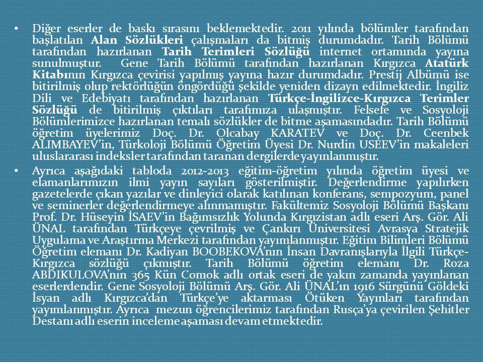 Diğer eserler de baskı sırasını beklemektedir. 2011 yılında bölümler tarafından başlatılan Alan Sözlükleri çalışmaları da bitmiş durumdadır. Tarih Böl