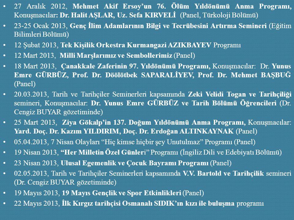 27 Aralık 2012, Mehmet Akif Ersoy'un 76. Ölüm Yıldönümü Anma Programı, Konuşmacılar: Dr. Halit AŞLAR, Uz. Sefa KIRVELİ (Panel, Türkoloji Bölümü) 23-25