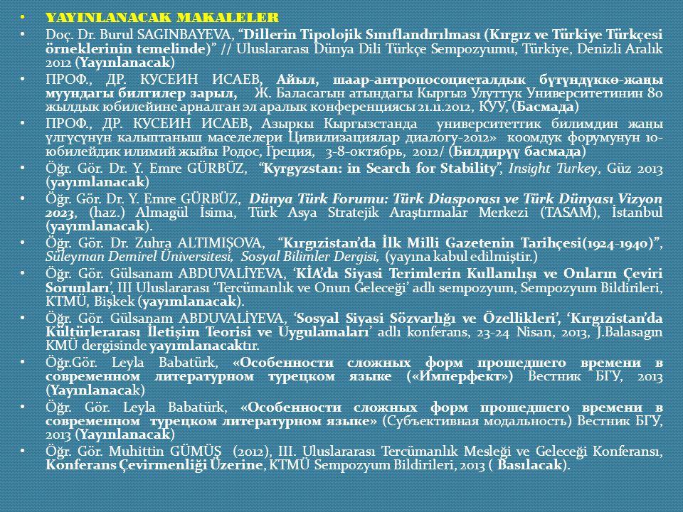 """YAYINLANACAK MAKALELER Doç. Dr. Burul SAGINBAYEVA, """"Dillerin Tipolojik Sınıflandırılması (Kırgız ve Türkiye Türkçesi örneklerinin temelinde)"""" // Ulusl"""
