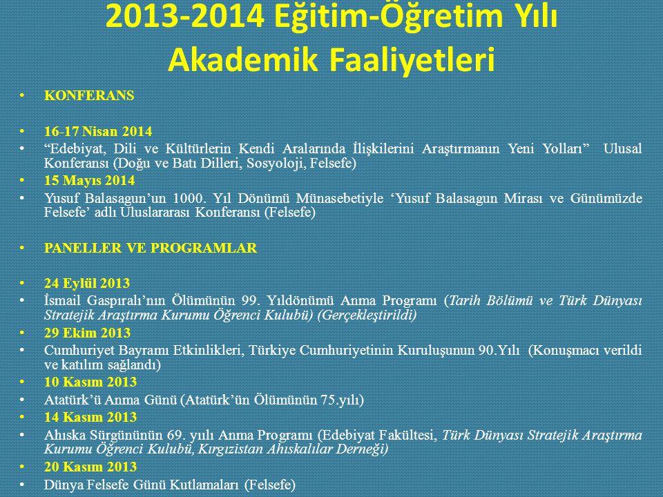 """2013-2014 Eğitim-Öğretim Yılı Akademik Faaliyetleri KONFERANS 16-17 Nisan 2014 """"Edebiyat, Dili ve Kültürlerin Kendi Aralarında İlişkilerini Araştırman"""