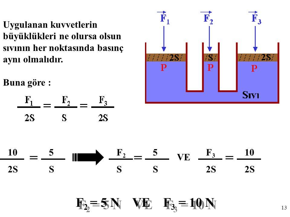 13 Uygulanan kuvvetlerin büyüklükleri ne olursa olsun sıvının her noktasında basınç aynı olmalıdır.