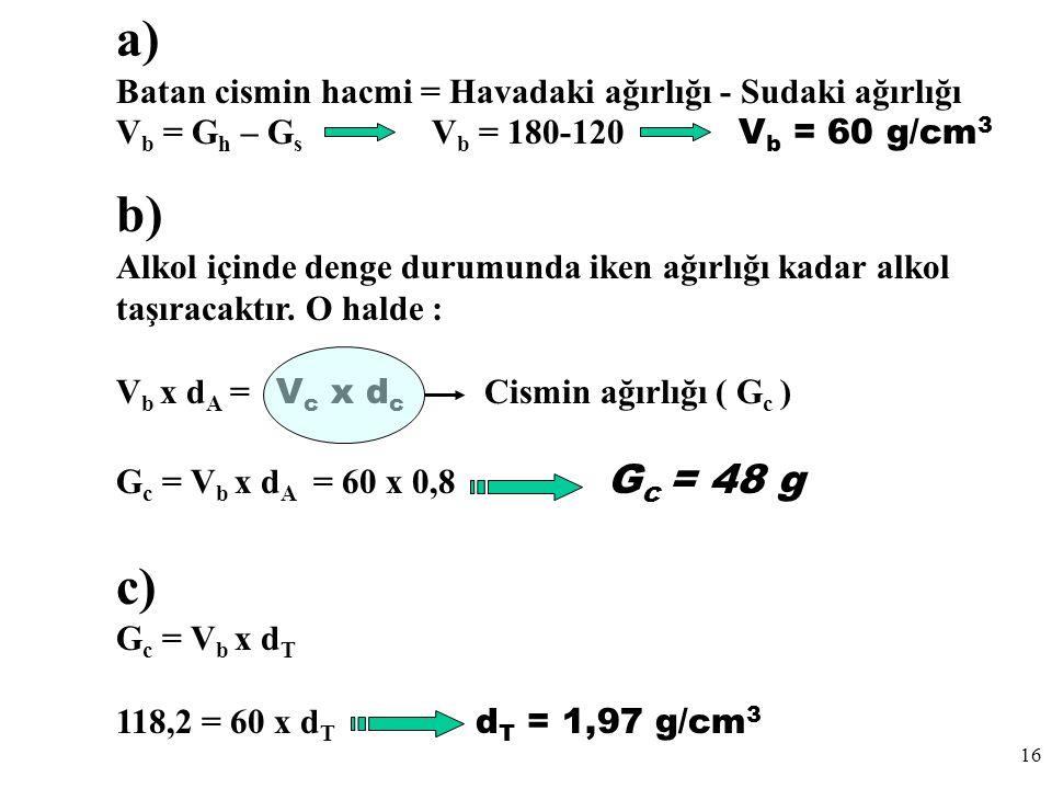 16 a) Batan cismin hacmi = Havadaki ağırlığı - Sudaki ağırlığı V b = G h – G s V b = 180-120 V b = 60 g/cm 3 b) Alkol içinde denge durumunda iken ağırlığı kadar alkol taşıracaktır.