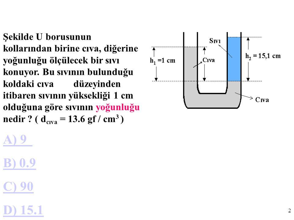 2 Şekilde U borusunun kollarından birine cıva, diğerine yoğunluğu ölçülecek bir sıvı konuyor.