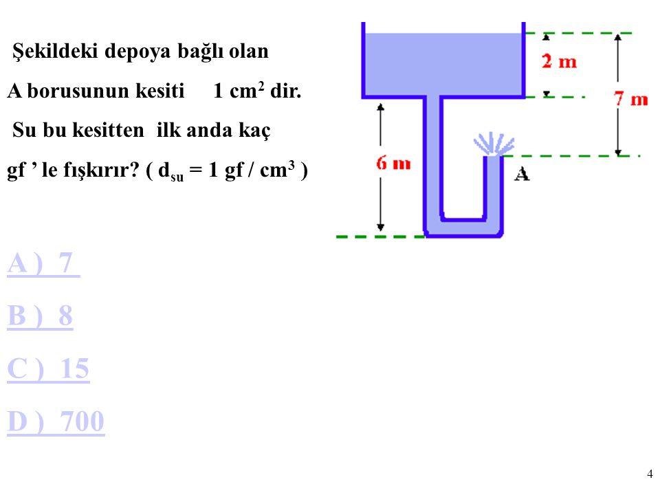 4 Şekildeki depoya bağlı olan A borusunun kesiti 1 cm 2 dir.
