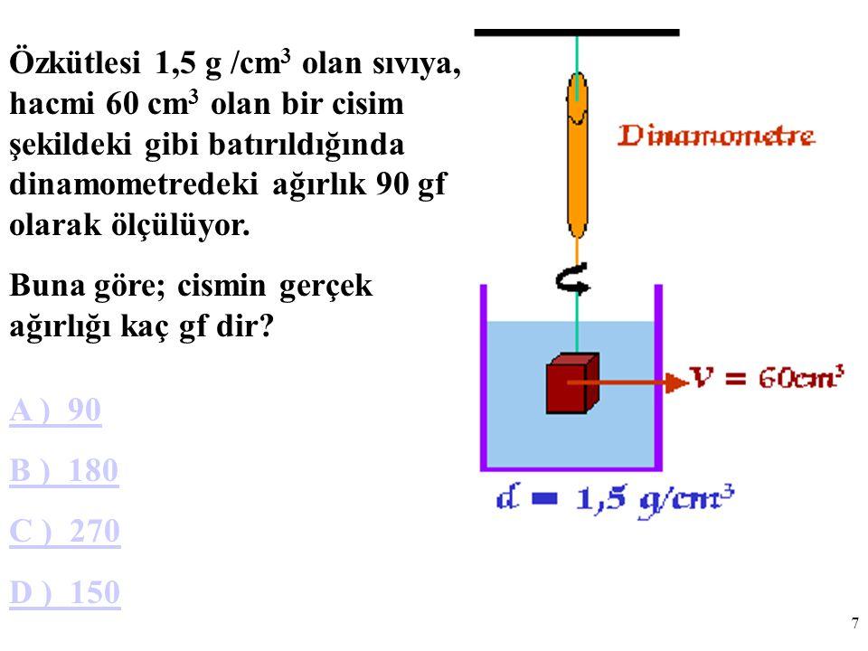 7 Özkütlesi 1,5 g /cm 3 olan sıvıya, hacmi 60 cm 3 olan bir cisim şekildeki gibi batırıldığında dinamometredeki ağırlık 90 gf olarak ölçülüyor.