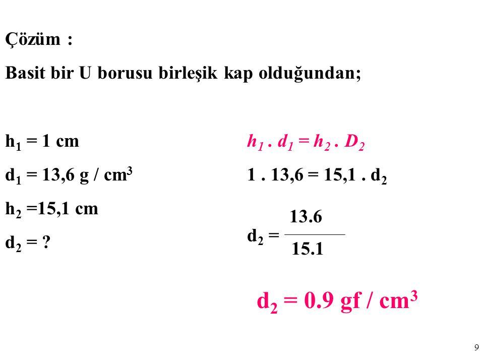 9 Çözüm : Basit bir U borusu birleşik kap olduğundan; h 1 = 1 cmh 1.