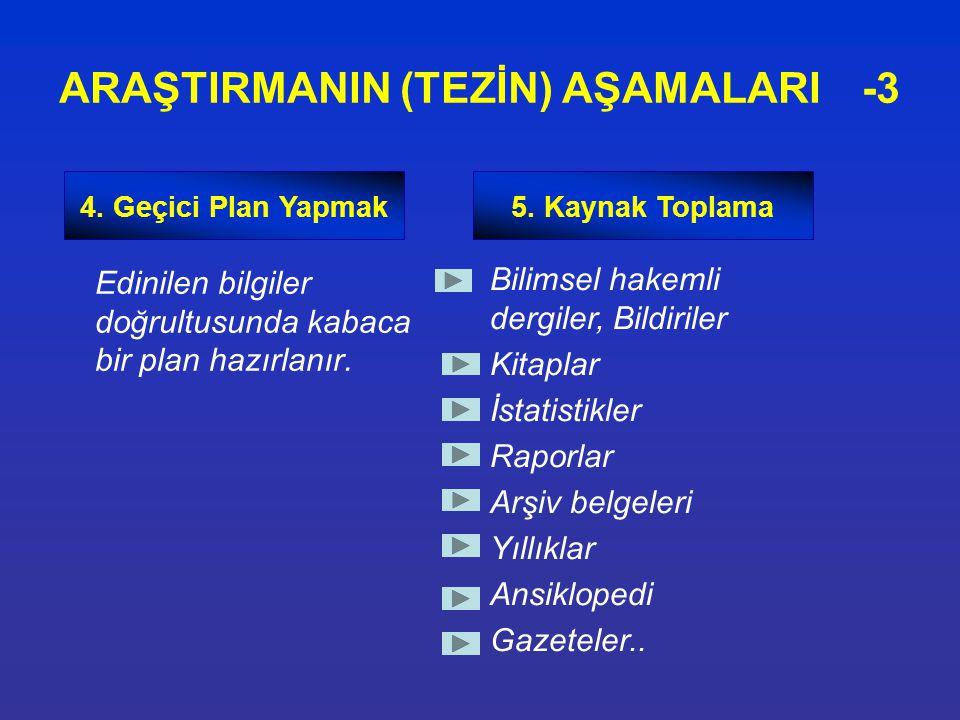 Edinilen bilgiler doğrultusunda kabaca bir plan hazırlanır. ARAŞTIRMANIN (TEZİN) AŞAMALARI -3 4. Geçici Plan Yapmak5. Kaynak Toplama Bilimsel hakemli