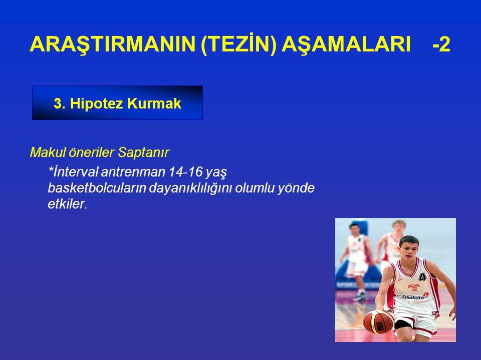 Makul öneriler Saptanır *İnterval antrenman 14-16 yaş basketbolcuların dayanıklılığını olumlu yönde etkiler. ARAŞTIRMANIN (TEZİN) AŞAMALARI -2 3. Hipo