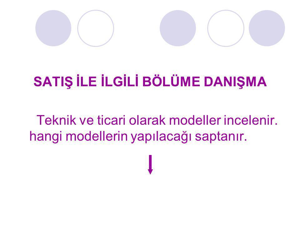 SATIŞ İLE İLGİLİ BÖLÜME DANIŞMA Teknik ve ticari olarak modeller incelenir. hangi modellerin yapılacağı saptanır.