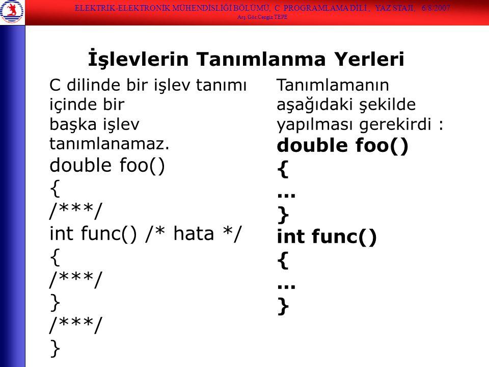 C dilinde bir işlev tanımı içinde bir başka işlev tanımlanamaz. double foo() { /***/ int func() /* hata */ { /***/ } /***/ } İşlevlerin Tanımlanma Yer