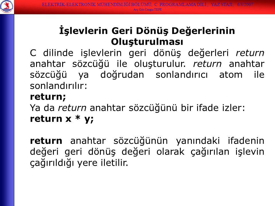 İşlevlerin Geri Dönüş Değerlerinin Oluşturulması C dilinde işlevlerin geri dönüş değerleri return anahtar sözcüğü ile oluşturulur. return anahtar sözc