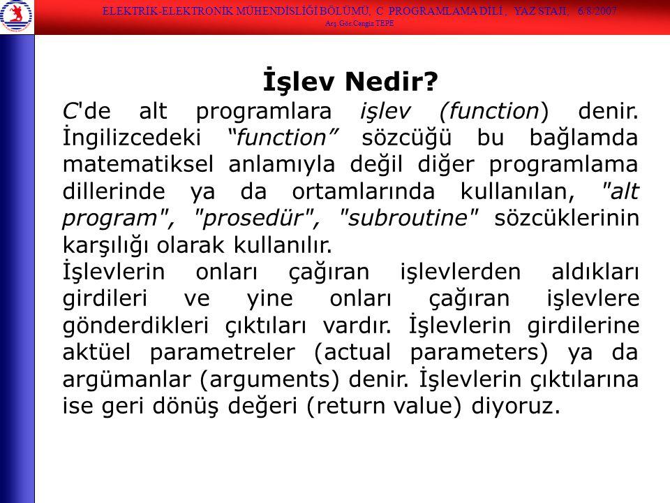 """İşlev Nedir? C'de alt programlara işlev (function) denir. İngilizcedeki """"function"""" sözcüğü bu bağlamda matematiksel anlamıyla değil diğer programlama"""