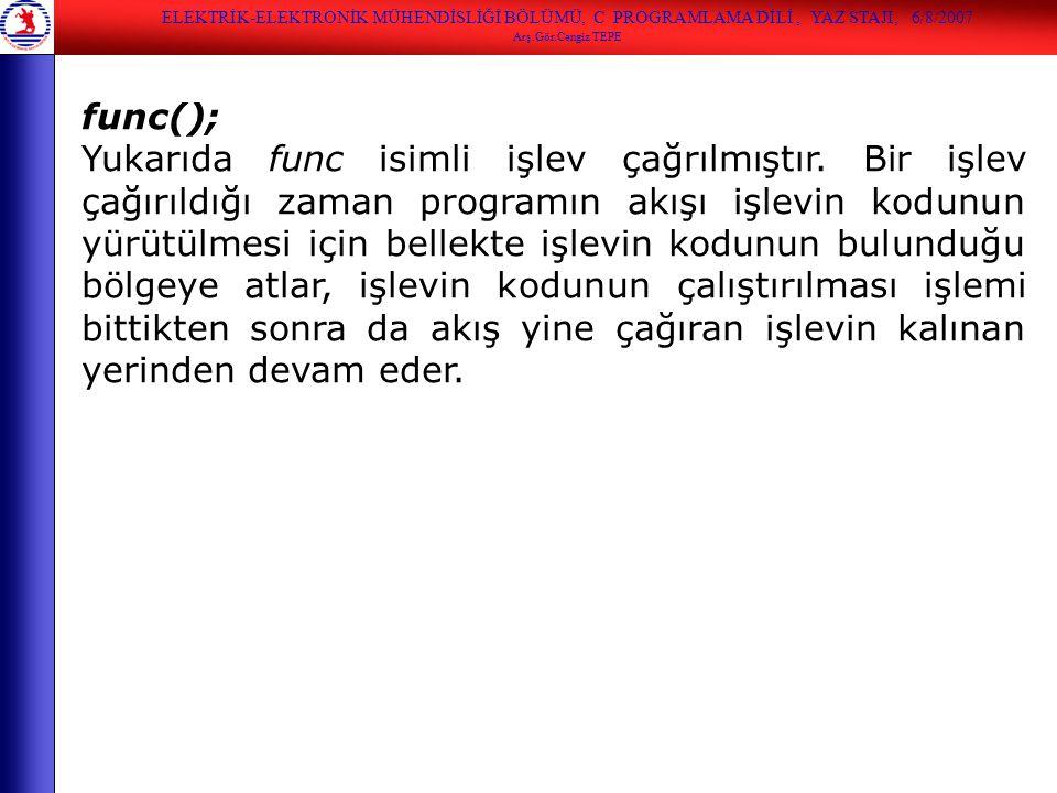ELEKTRİK-ELEKTRONİK MÜHENDİSLİĞİ BÖLÜMÜ, C PROGRAMLAMA DİLİ, YAZ STAJI, 6/8/2007 Arş.Gör.Cengiz TEPE func(); Yukarıda func isimli işlev çağrılmıştır.