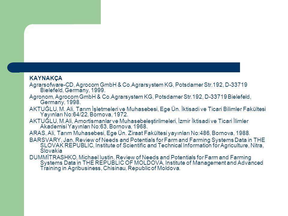 KAYNAKÇA Agrarsofware-CD, Agrocom GmbH & Co.Agrarsystem KG, Potsdamer Str.192, D-33719 Bielefeld, Germany, 1999. Agronom, Agrocom GmbH & Co.Agrarsyste