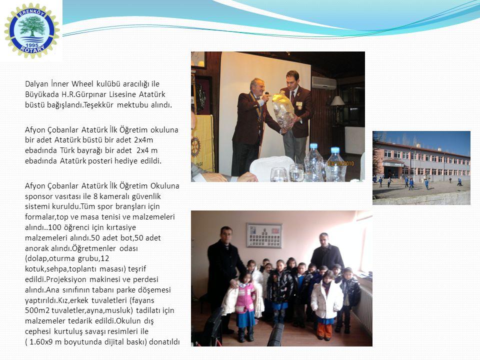 Dalyan İnner Wheel kulübü aracılığı ile Büyükada H.R.Gürpınar Lisesine Atatürk büstü bağışlandı.Teşekkür mektubu alındı. Afyon Çobanlar Atatürk İlk Öğ