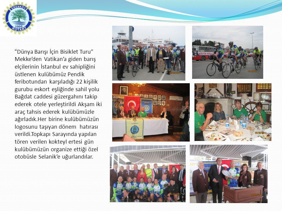 """""""Dünya Barışı İçin Bisiklet Turu"""" Mekke'den Vatikan'a giden barış elçilerinin İstanbul ev sahipliğini üstlenen kulübümüz Pendik feribotundan karşıladı"""