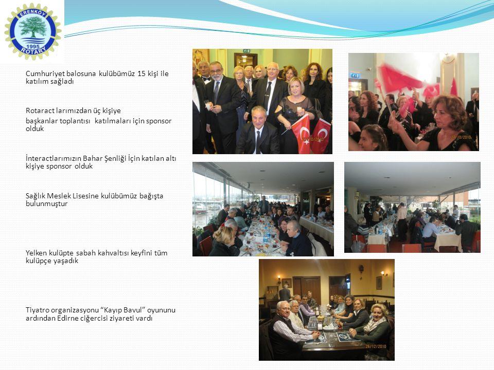Cumhuriyet balosuna kulübümüz 15 kişi ile katılım sağladı Rotaract larımızdan üç kişiye başkanlar toplantısı katılmaları için sponsor olduk İnteractla