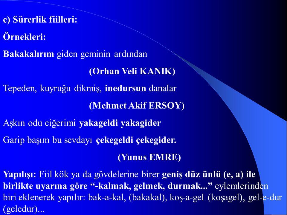 c) Sürerlik fiilleri: Örnekleri: Bakakalırım giden geminin ardından (Orhan Veli KANIK) Tepeden, kuyruğu dikmiş, inedursun danalar (Mehmet Akif ERSOY)