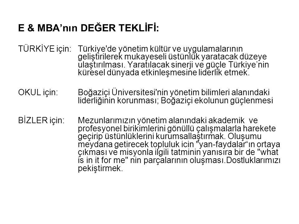 E & MBA'nın DEĞER TEKLİFİ: TÜRKİYE için: Türkiye de yönetim kültür ve uygulamalarının geliştirilerek mukayeseli üstünlük yaratacak düzeye ulaştırılması.