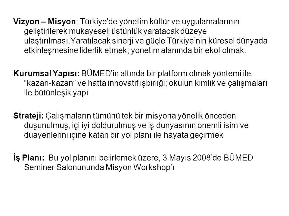 Vizyon – Misyon: Türkiye de yönetim kültür ve uygulamalarının geliştirilerek mukayeseli üstünlük yaratacak düzeye ulaştırılması.Yaratılacak sinerji ve güçle Türkiye'nin küresel dünyada etkinleşmesine liderlik etmek; yönetim alanında bir ekol olmak.