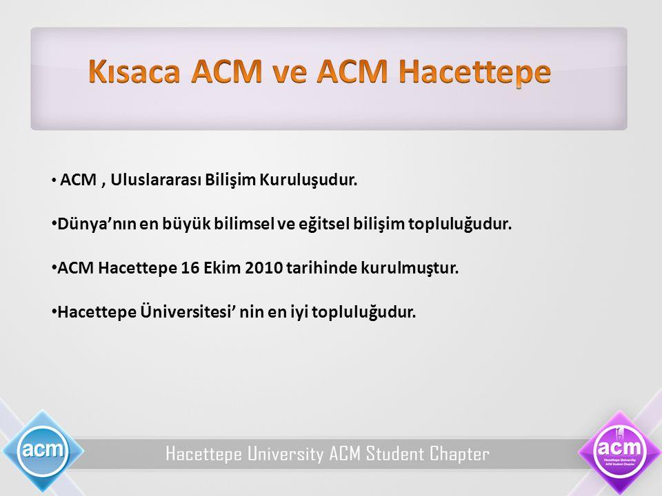 ACM, Uluslararası Bilişim Kuruluşudur. Dünya'nın en büyük bilimsel ve eğitsel bilişim topluluğudur. ACM Hacettepe 16 Ekim 2010 tarihinde kurulmuştur.