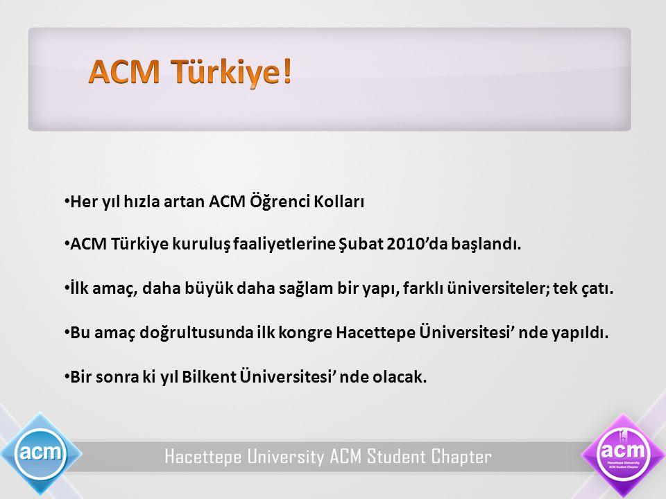 Her yıl hızla artan ACM Öğrenci Kolları ACM Türkiye kuruluş faaliyetlerine Şubat 2010'da başlandı. İlk amaç, daha büyük daha sağlam bir yapı, farklı ü