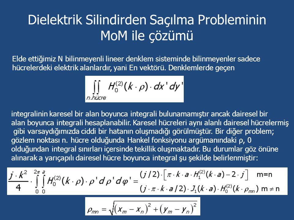 Dielektrik Silindirden Saçılma Probleminin MoM ile çözümü Elde ettiğimiz N bilinmeyenli lineer denklem sisteminde bilinmeyenler sadece hücrelerdeki el