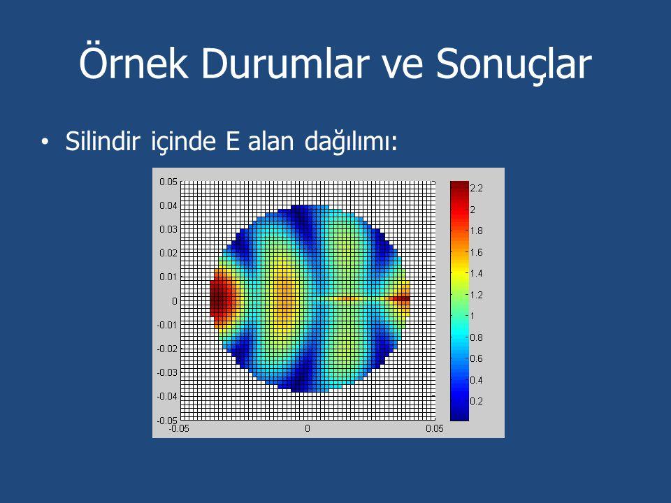 Örnek Durumlar ve Sonuçlar Silindir içinde E alan dağılımı: