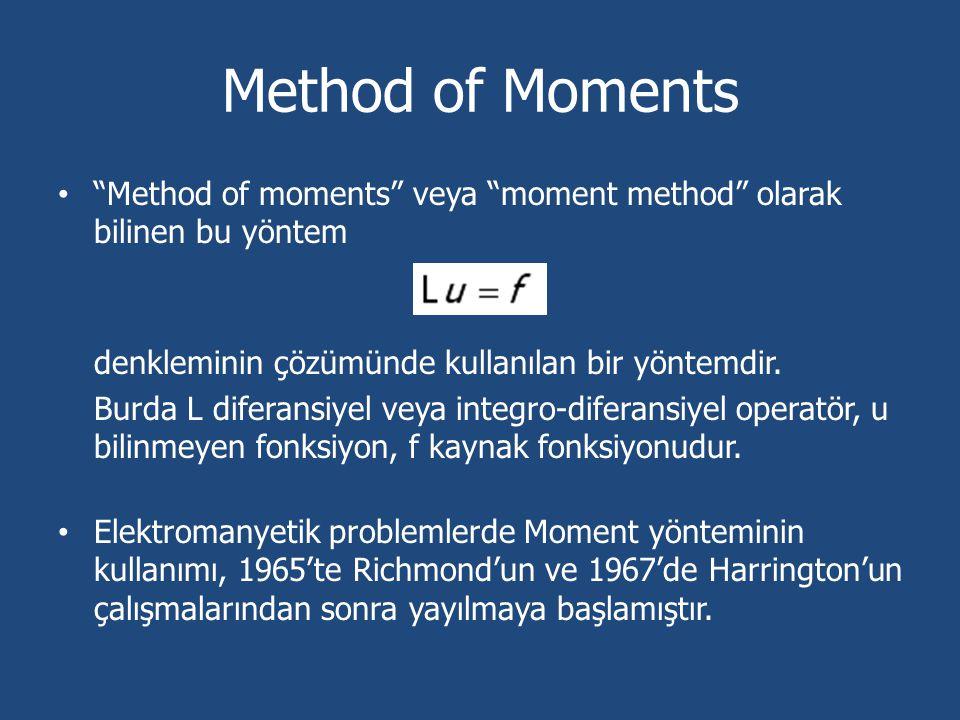 """Method of Moments """"Method of moments"""" veya """"moment method"""" olarak bilinen bu yöntem denkleminin çözümünde kullanılan bir yöntemdir. Burda L diferansiy"""