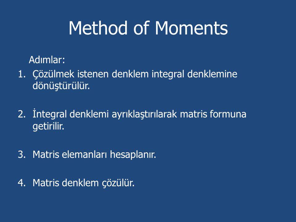Method of Moments Adımlar: 1.Çözülmek istenen denklem integral denklemine dönüştürülür. 2.İntegral denklemi ayrıklaştırılarak matris formuna getirilir