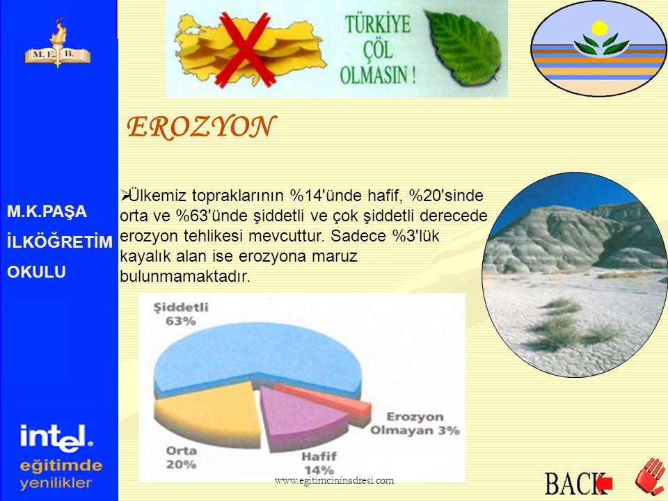 M.K.PAŞA İLKÖĞRETİM OKULU EROZYON  Erozyon, topraklarımızın yok olmasına sebep olan etkenlerin başında gelmektedir. www.egitimcininadresi.com
