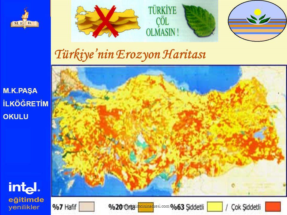 M.K.PAŞA İLKÖĞRETİM OKULU EROZYON  Ülkemizde erozyon sonucu her yıl 500 milyon ton verimli toprağımız kaybolmaktadır. www.egitimcininadresi.com