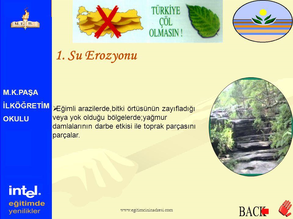 M.K.PAŞA İLKÖĞRETİM OKULU 1. Su Erozyonu  Su erozyonu, diğer erozyon çeşitleri içerisinde en yaygın ve en etkilisidir. www.egitimcininadresi.com