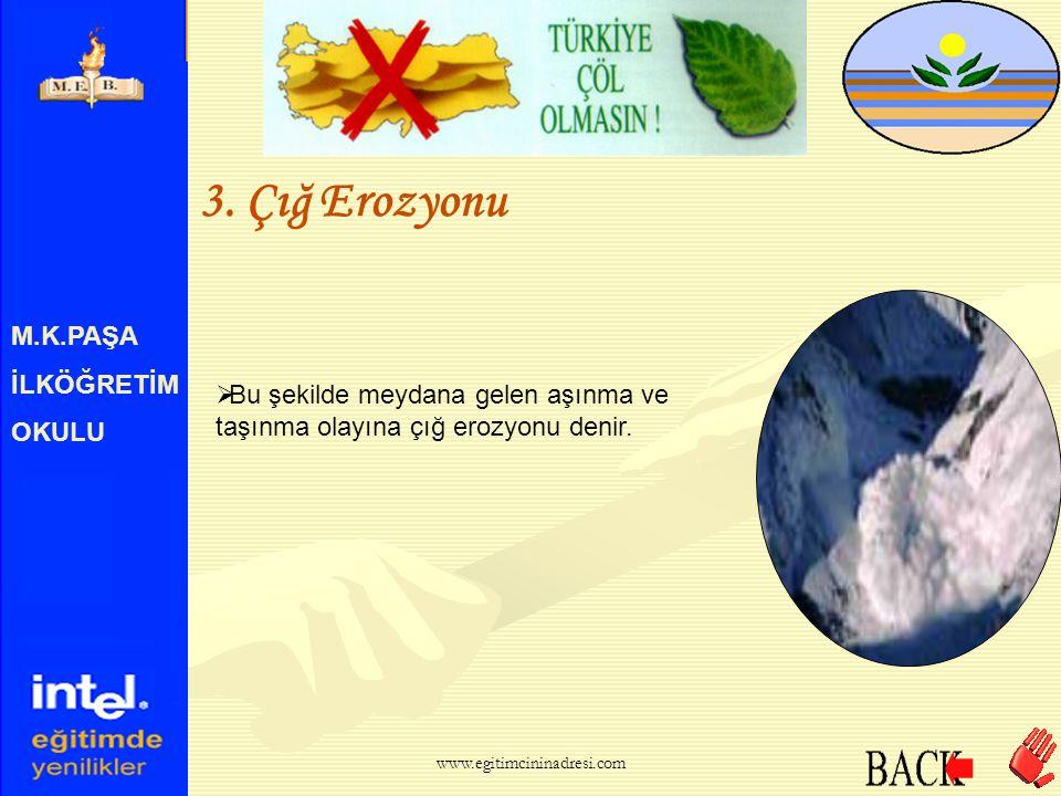 M.K.PAŞA İLKÖĞRETİM OKULU 3. Çığ Erozyonu  Çığlar önlerine gelen engelleri tahrip eder, beraberinde toprak, taş ve ağaçları söker götürür. www.egitim