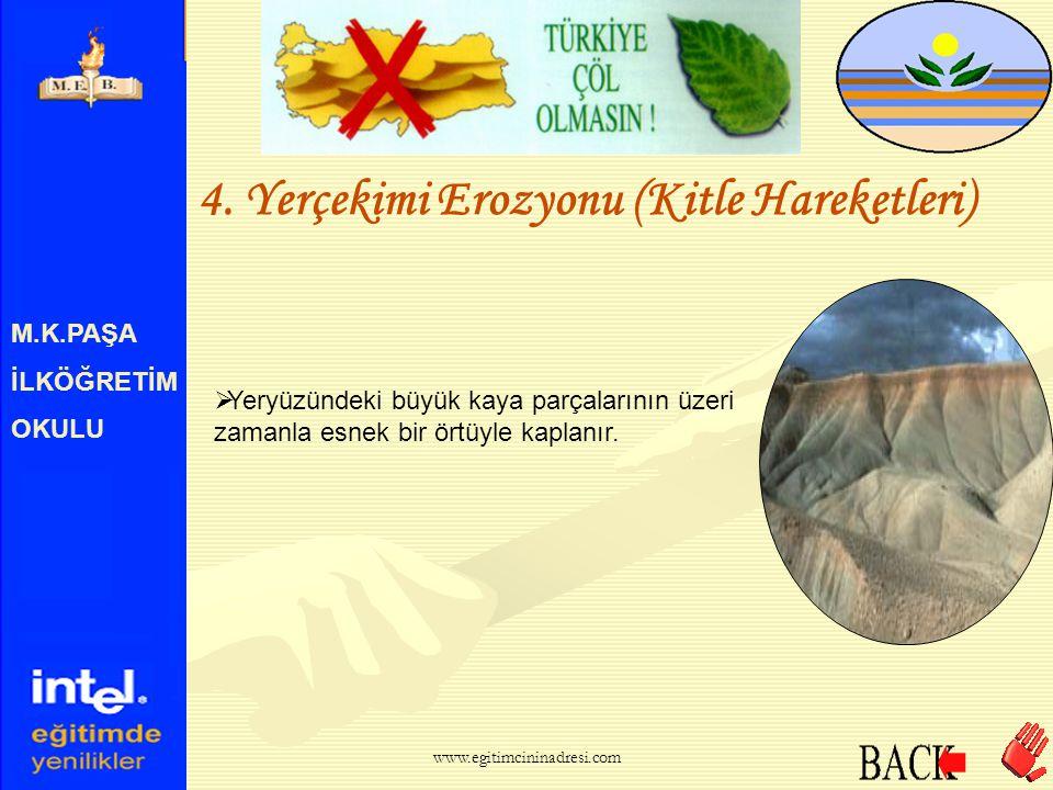 M.K.PAŞA İLKÖĞRETİM OKULU 3. Çığ Erozyonu  Bu şekilde meydana gelen aşınma ve taşınma olayına çığ erozyonu denir. www.egitimcininadresi.com
