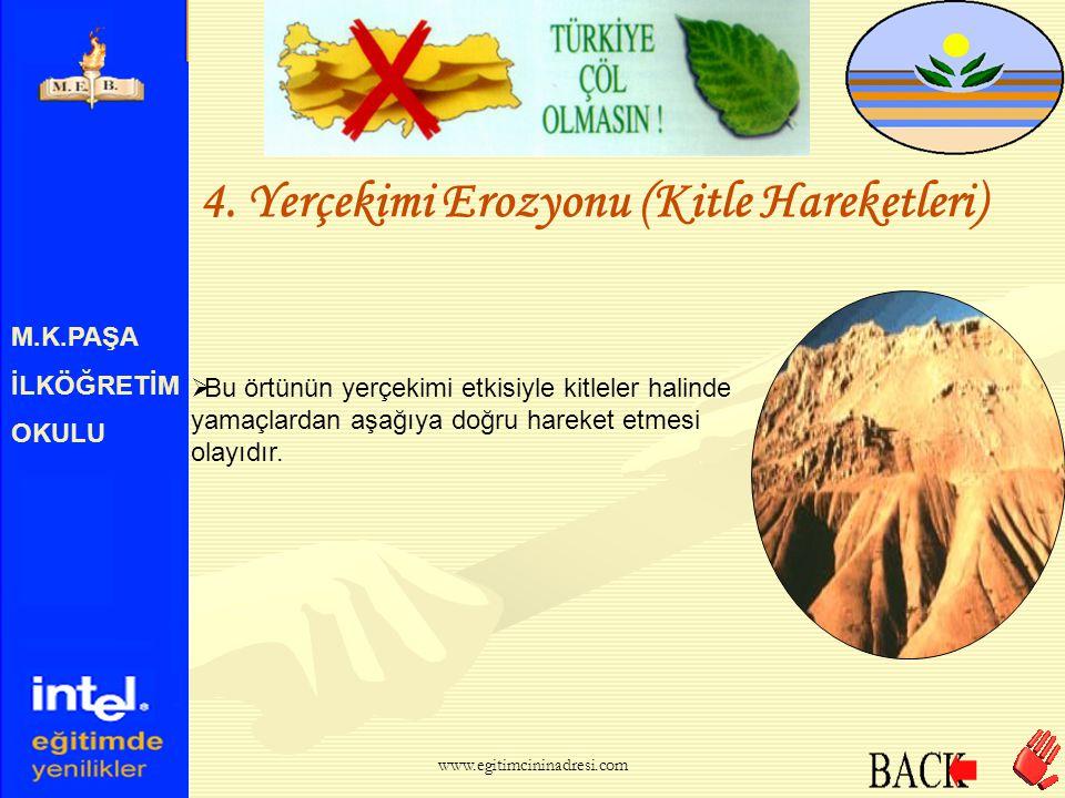 M.K.PAŞA İLKÖĞRETİM OKULU 4. Yerçekimi Erozyonu (Kitle Hareketleri)  Yeryüzündeki büyük kaya parçalarının üzeri zamanla esnek bir örtüyle kaplanır. w