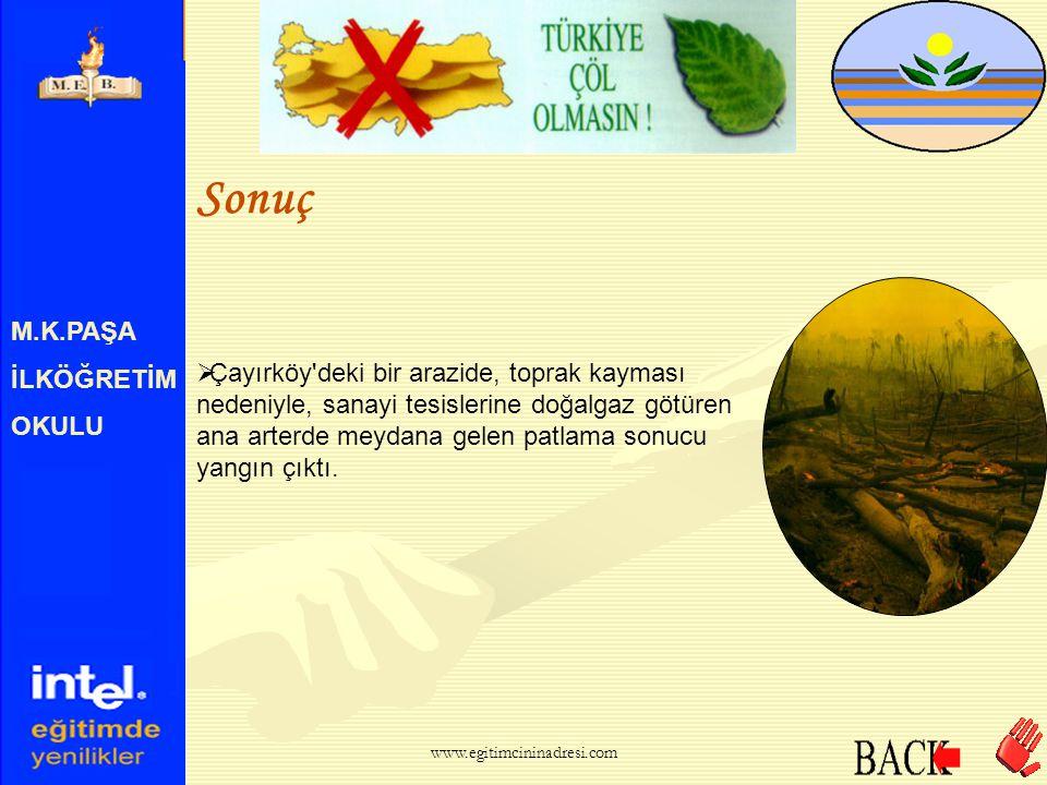 M.K.PAŞA İLKÖĞRETİM OKULU İşte Gerçek  Başka bir deyişle Kocaeli ve Bursa'nın 10cm kalınlıkta kaplayacak toprağı erozyon sonucu kaybediyoruz. www.egi