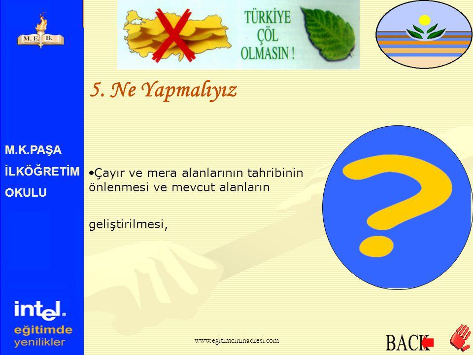 M.K.PAŞA İLKÖĞRETİM OKULU 5. Ne Yapmalıyız Yanlış toprak işlenmesi, yanlış ekim ve sulamanın önlenmesi, www.egitimcininadresi.com